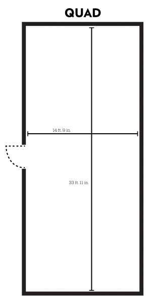 Kronshage quad room layout with dimensions