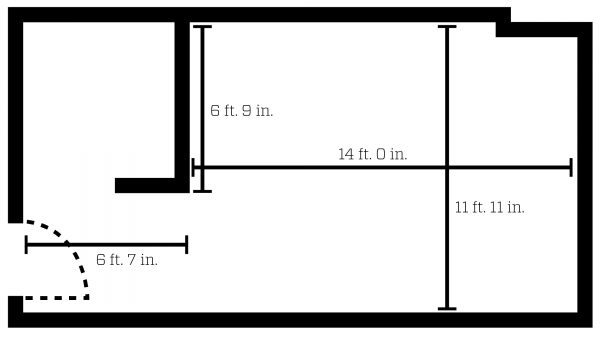 Ogg double room layout with dimensions