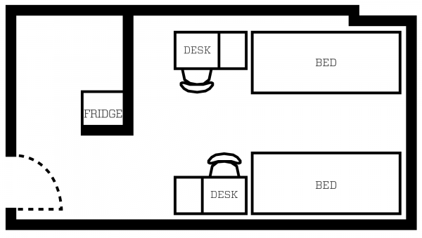 Ogg double room layout with furniture
