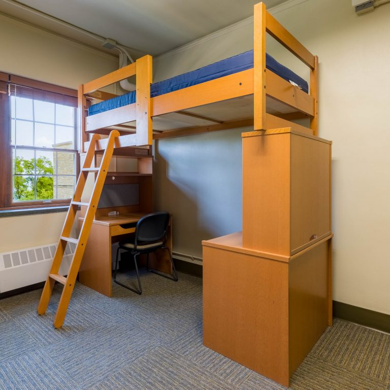 Lofted bed with building block-style furniture