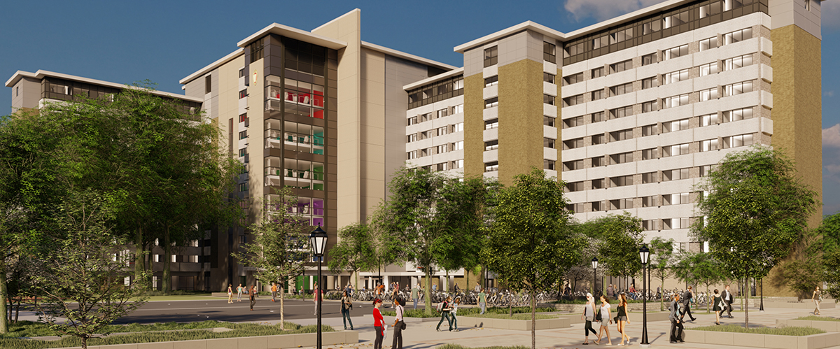 Rendering of Sellery Hall renovation project exterior