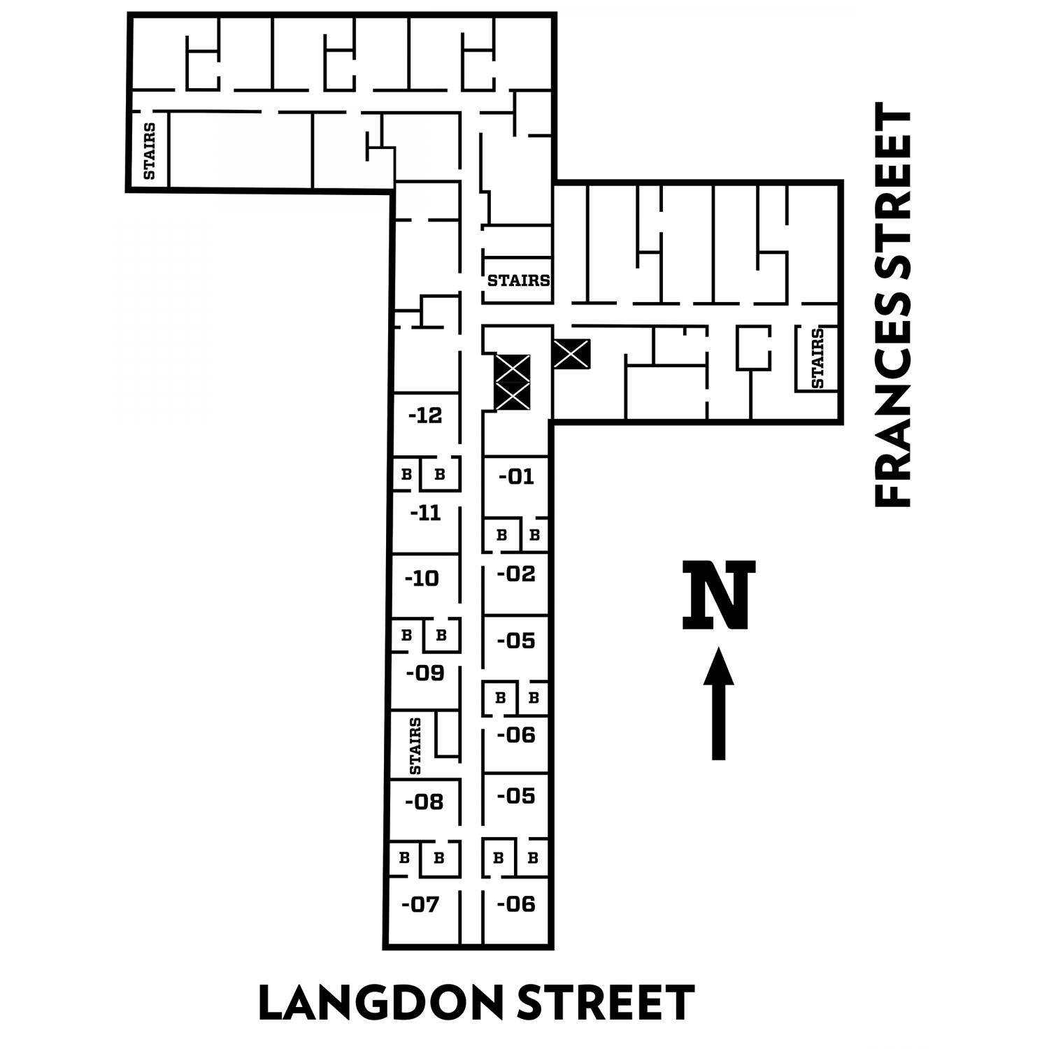 Lowell floor plan of second and third floors